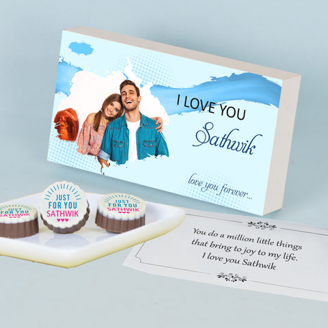 Splash of Colour I Love You Chocolate Gift Box Personalized with Photo