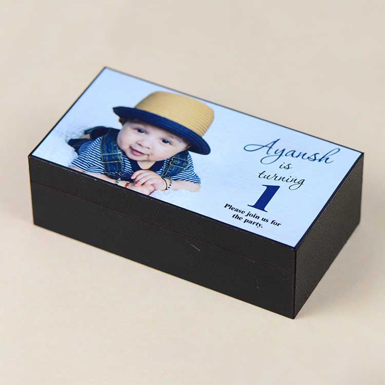 1st Birthday Invitations - 2 Chocolate Box - All Printed Chocolates (10 Boxes)
