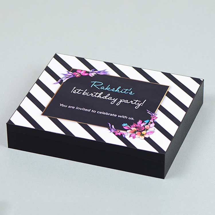 1st Birthday Invitations - 9 Chocolate Box - Single Printed Chocolates (Sample)