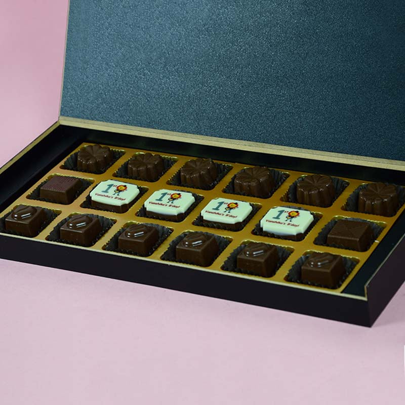Birthday Return Gifts - 18 Chocolate Box - Middle Four Printed Chocolates (10 Boxes)