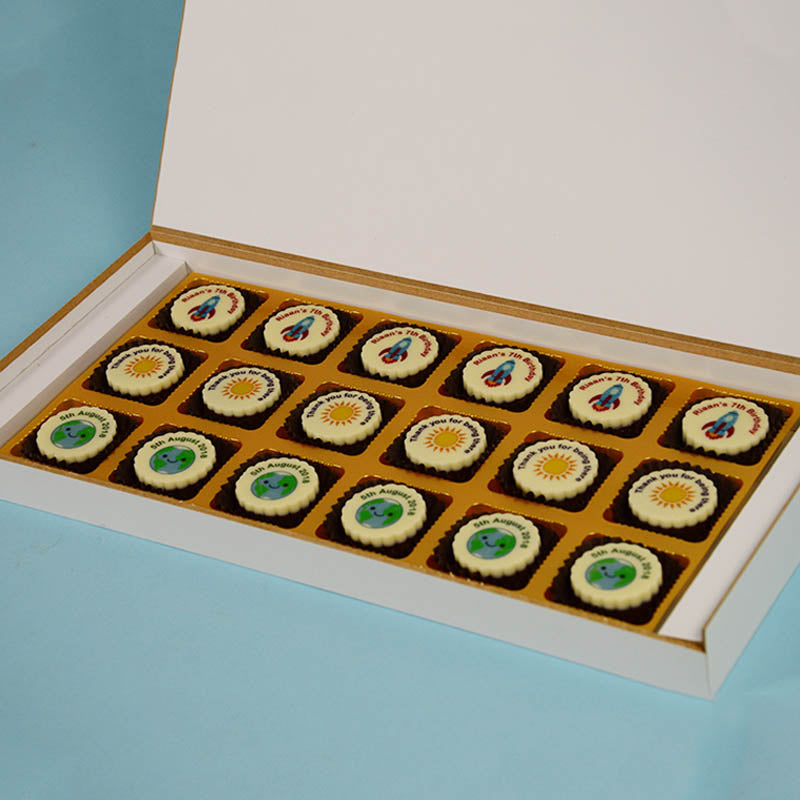 Birthday Return Gifts - 18 Chocolate Box - All Printed Chocolates (Sample)
