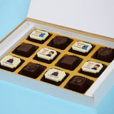 Birthday Return Gifts - 12 Chocolate Box - Alternate Printed Chocolates (Sample)