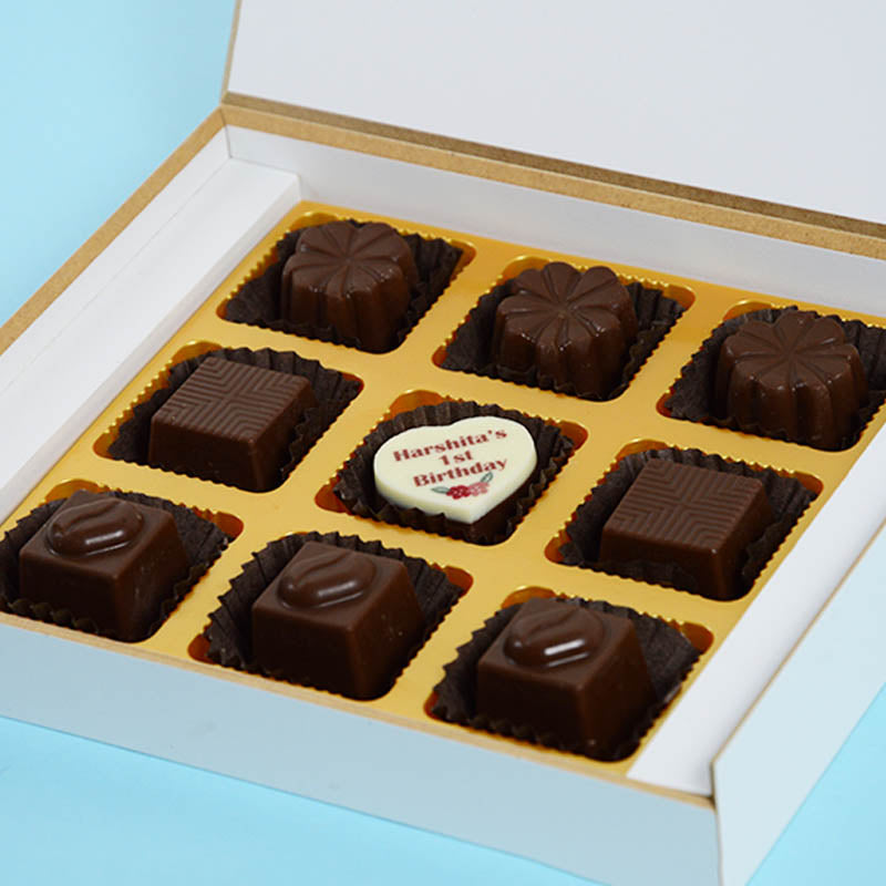 Birthday Return Gifts - 9 Chocolate Box - Middle Printed Chocolates (10 Boxes)