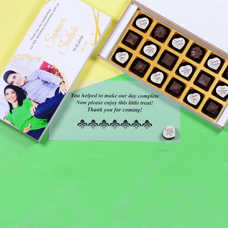 Anniversary Return Gifts - 18 Chocolate Box - Alternate Printed Chocolates (Minimum 10 Boxes)