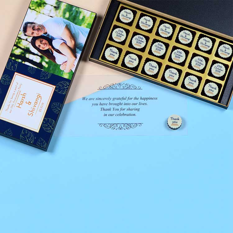 Anniversary Return Gifts - 18 Chocolate Box - All Printed Chocolates (Sample)