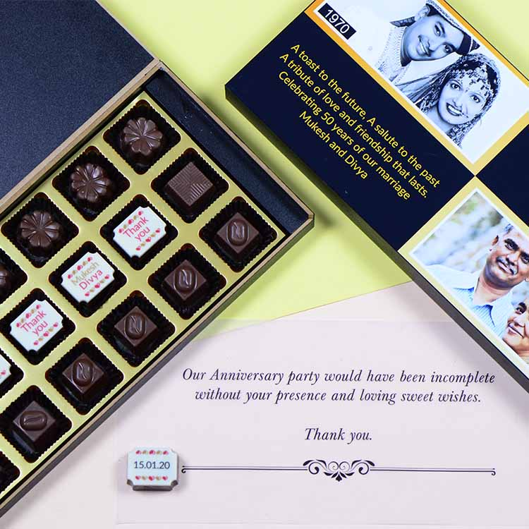 Anniversary Return Gifts - 18 Chocolate Box - Middle Four Printed Chocolates (Sample)
