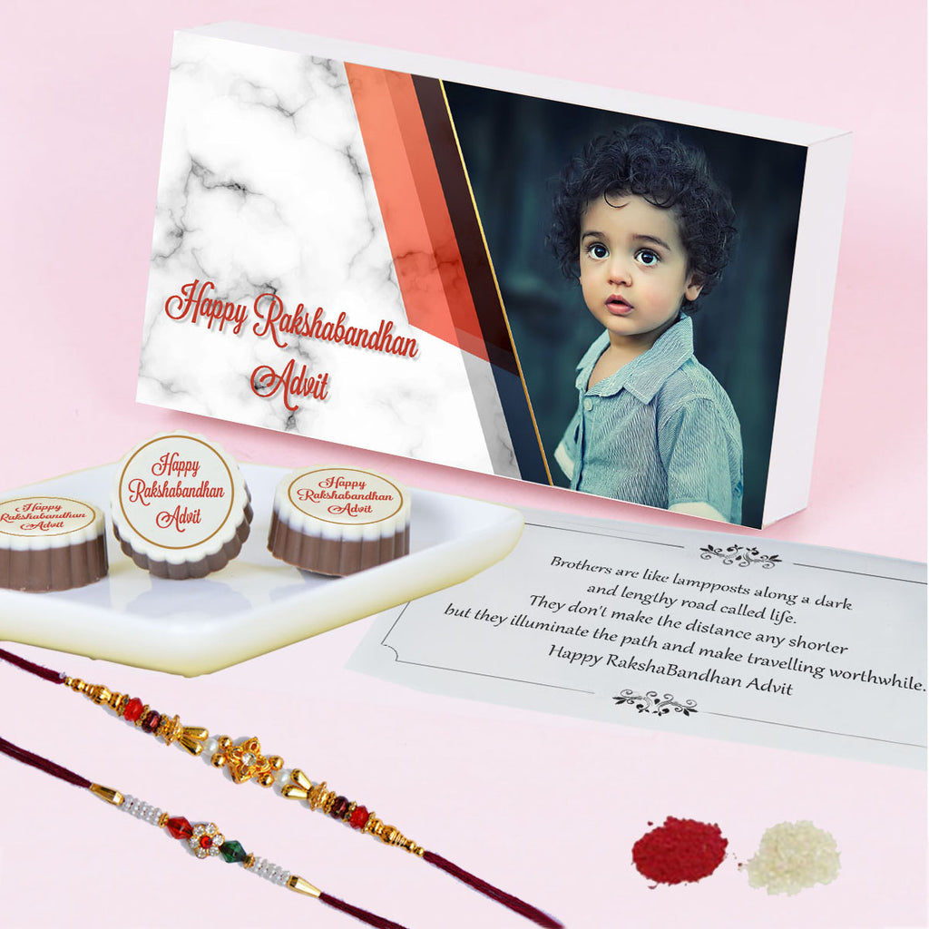 Personalized Rakhi Gift Box and  Chocolates for Brother