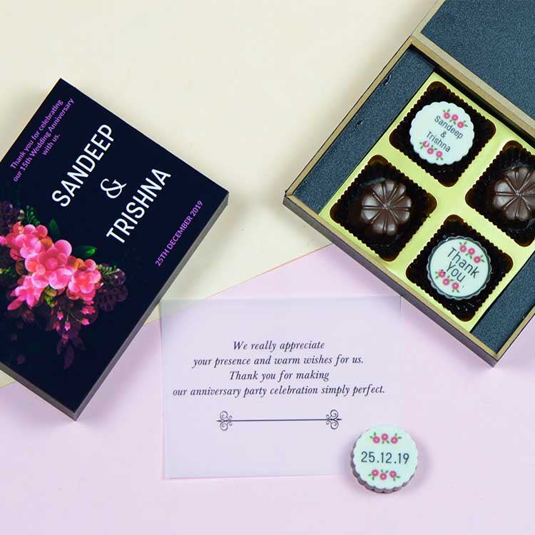 Anniversary Return Gifts - 4 Chocolate Box - Alternate Printed Chocolates (Sample)