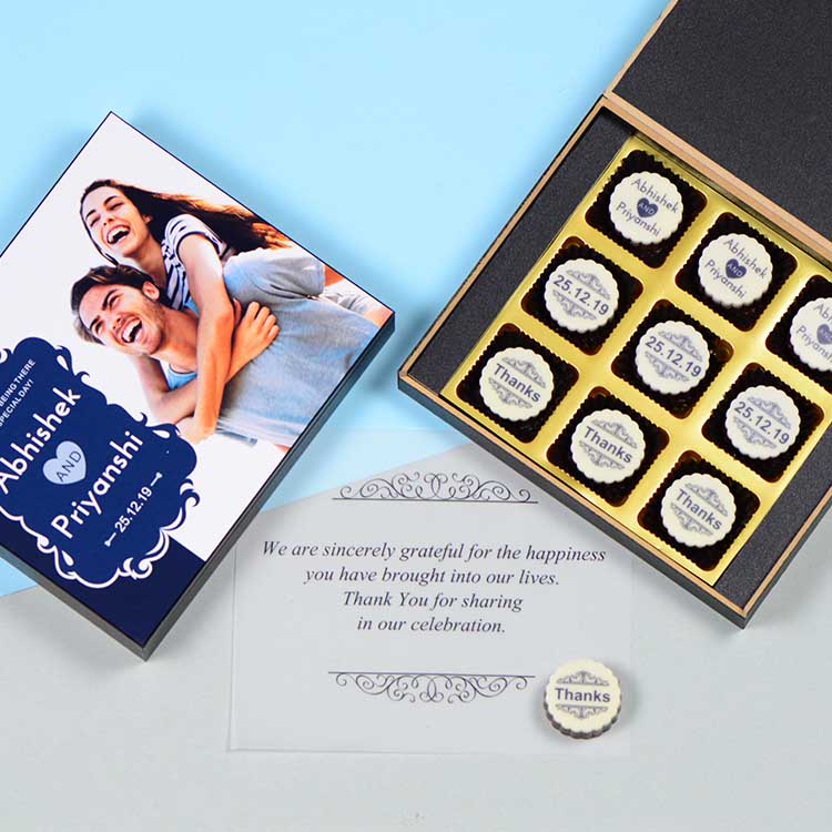 Anniversary Return Gifts - 9 Chocolate Box - All Printed Chocolates (Sample)