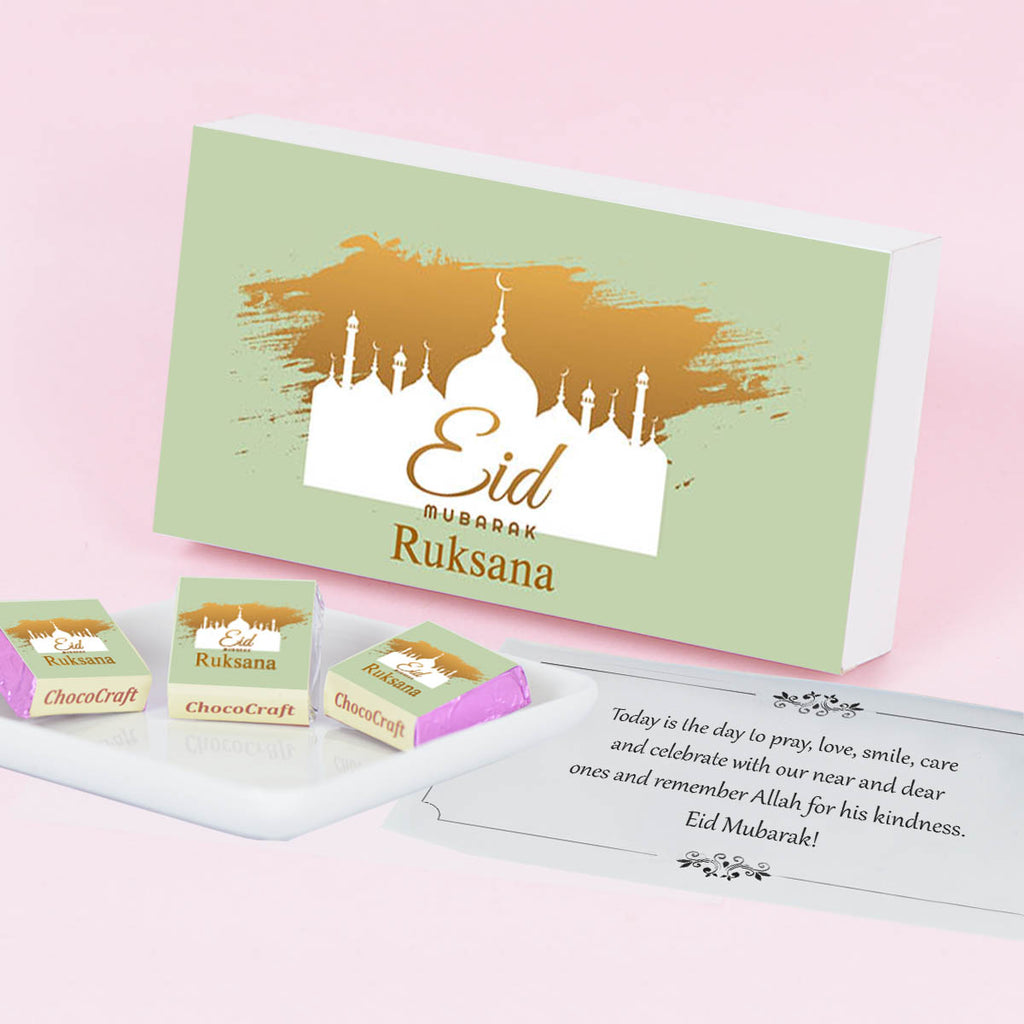 Personalised Eid Gift for Friends with Wrapped Chocolates