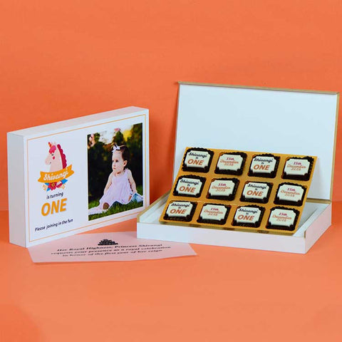 1st Birthday Invitations - 12 Chocolate Box - All Printed Chocolates (Sample)