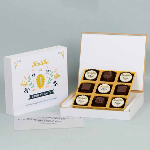 1st Birthday Invitations - 9 Chocolate Box - Alternate Printed Chocolates (10 Boxes)