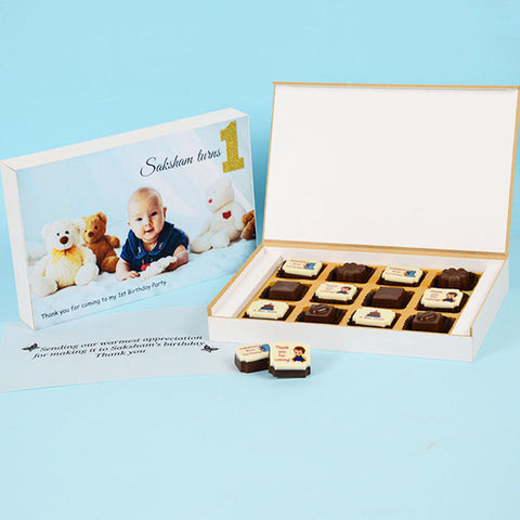 Birthday Return Gifts - 12 Chocolate Box - Alternate Printed Chocolates (10 Boxes)