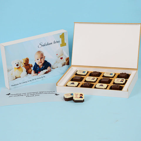 1st Birthday Return Gifts - 12 Chocolate Box - Alternate Printed Chocolates (Sample)