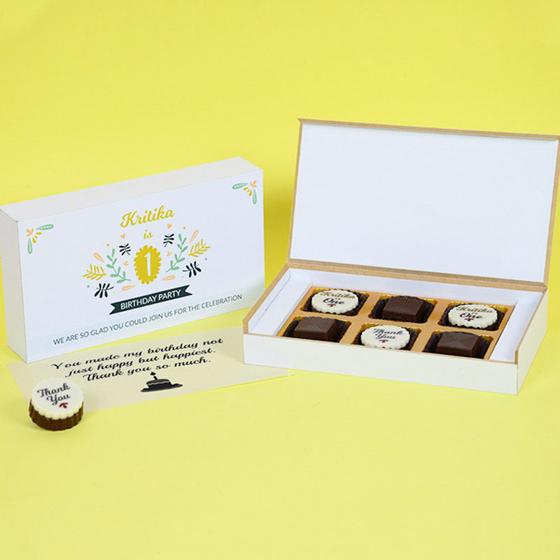1st Birthday Return Gifts - 6 Chocolate Box - Alternate Printed Chocolates (10 Boxes)
