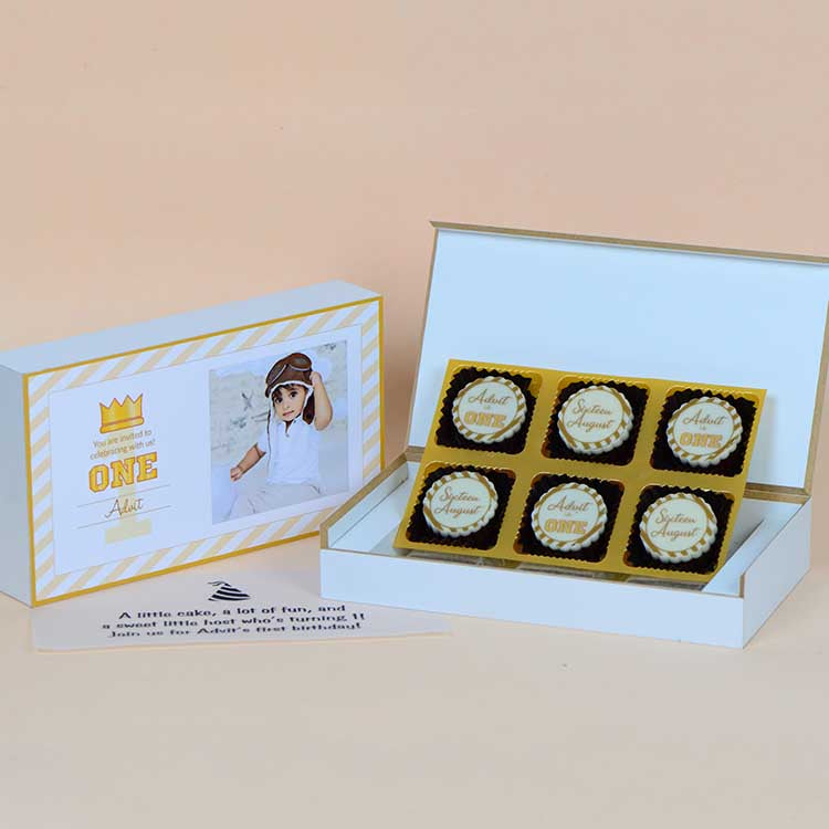 1st Birthday Invitations - 6 Chocolate Box - All Printed Chocolates (Sample)
