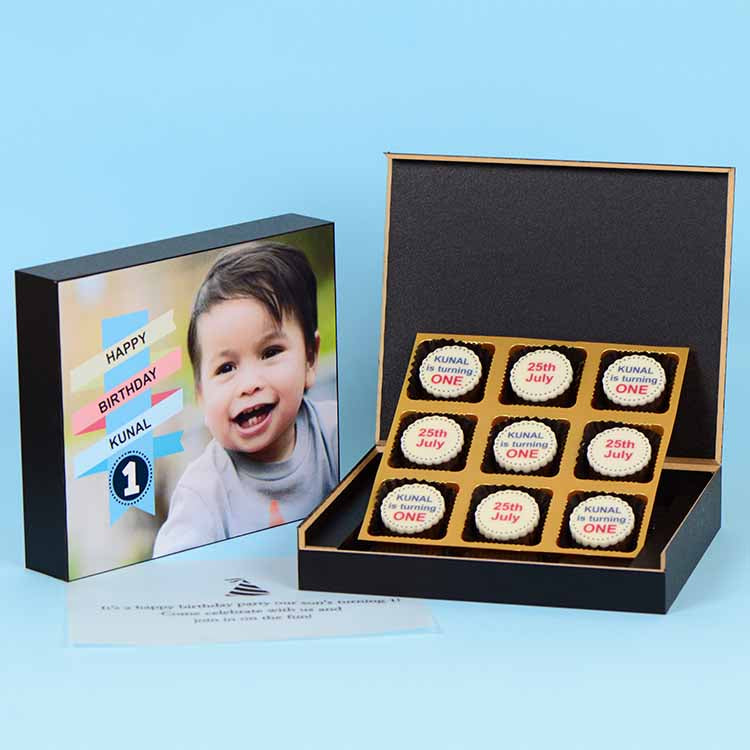 1st Birthday Invitations - 9 Chocolate Box - All Printed Chocolates (Sample)