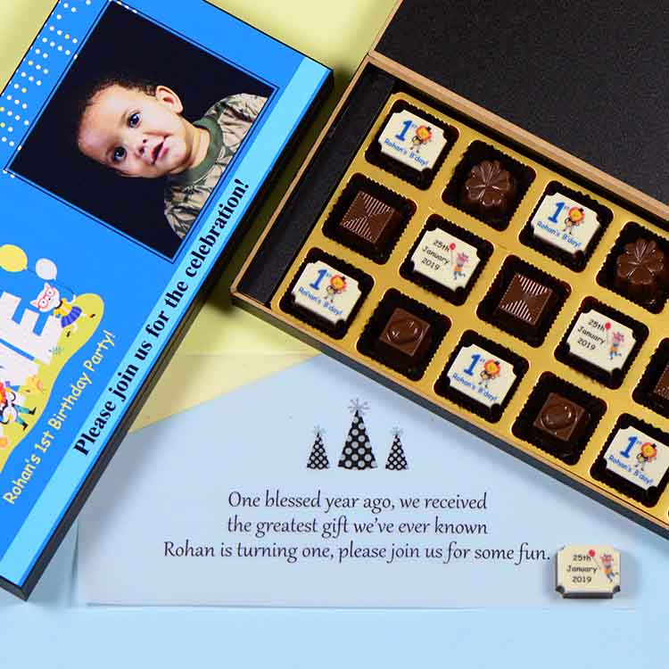 1st Birthday Invitations - 18 Chocolate Box - Alternate Printed Chocolates (Minimum 10 Boxes)