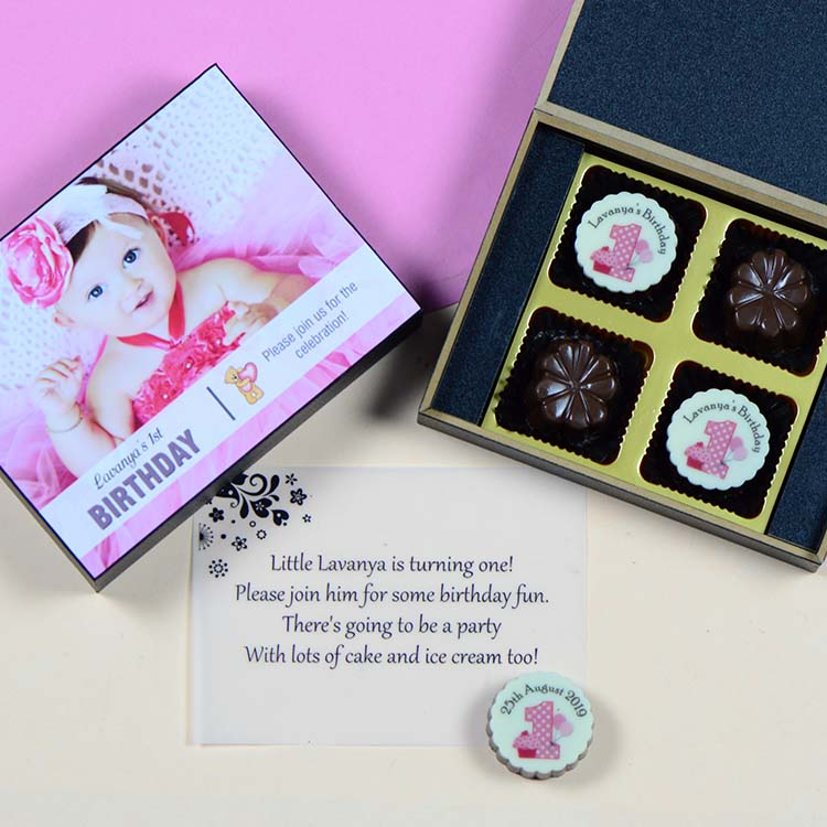 1st Birthday Invitations - 4 Chocolate Box - Alternate Printed Chocolates (10 Boxes)