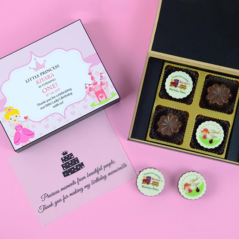 Birthday Return Gifts - 4 Chocolate Box - Alternate Printed Chocolates (Minimum 10 Boxes)
