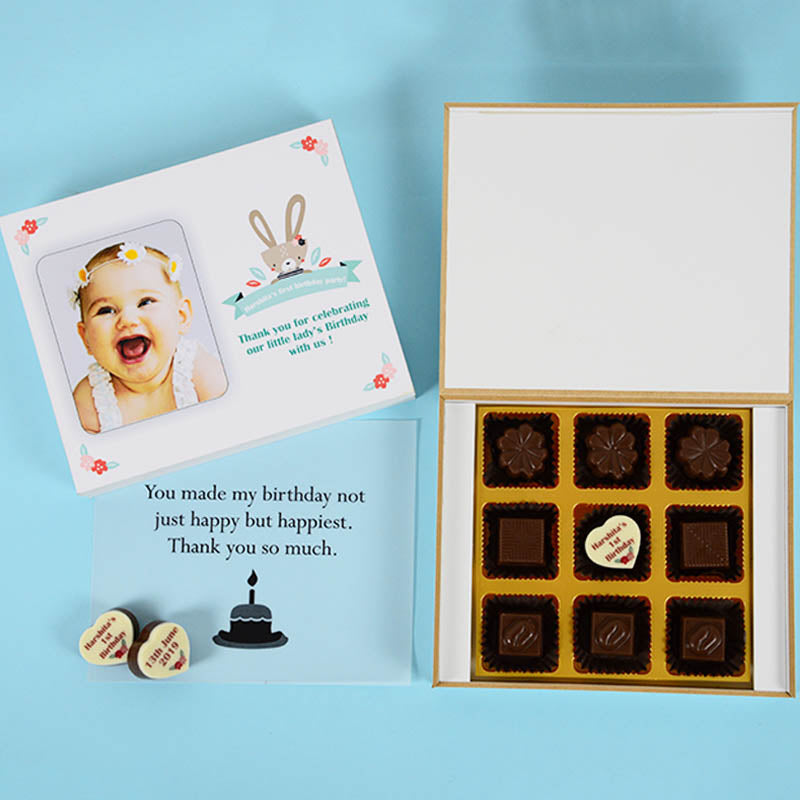 Birthday Return Gifts - 9 Chocolate Box - Middle Printed Chocolates (Minimum 10 Boxes)