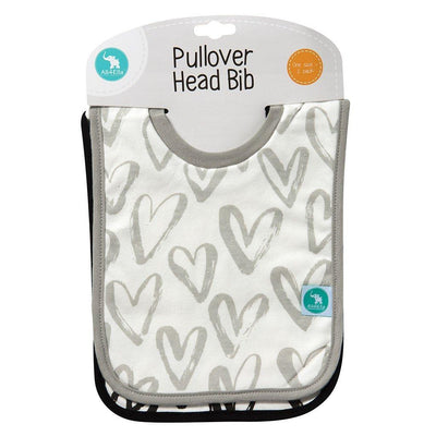 Ababy-ababy.com.au-All4Ella Pullover Head Bibs 2Pk – Hearts Black-Feeding-All4Ella-Ababy