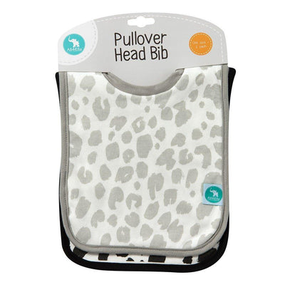 Ababy-ababy.com.au-All4Ella Pullover Head Bibs 2Pk – Leopard Black-Feeding-All4Ella-Ababy
