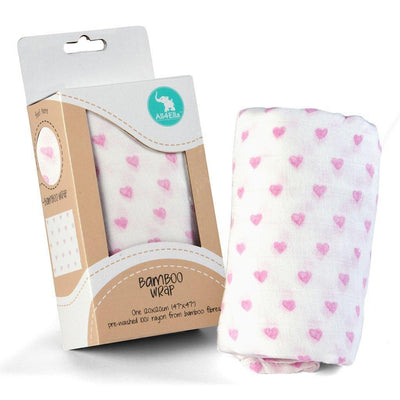 Ababy-ababy.com.au-All4Ella Single Bamboo Wrap - Hearts Pink-Babywear-All4Ella-Ababy