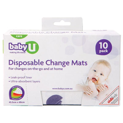 Ababy-ababy.com.au-Baby U Disposable Change Mats 10pk-Bath & Health-Baby U-Ababy