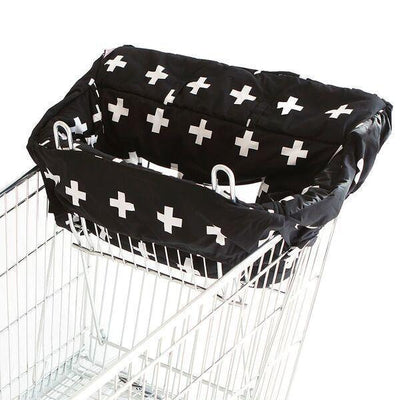 Ababy-ababy.com.au-Bambella Designs Trolley Liner- Crosses Black-Out & About-Bambella Designs-Ababy