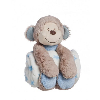 Ababy-ababy.com.au-B.Boutique Cuddly Monkey Stuffed Animal With Blanket-Nursery-B.Boutique By Evergreen-Ababy