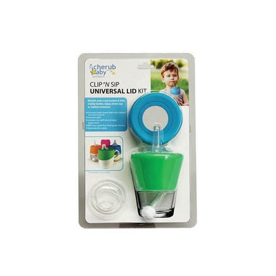 Ababy-ababy.com.au-Cherub Baby Clip 'N Sip Universal Straw Spout & Teat Lid, 2 Pack - Blue/Green-Feeding-Cherub Baby Australia-Ababy