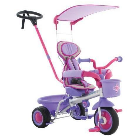 Ababy-ababy.com.au-Eurotrike Ultima Plus Trike Girls – Gloss silver frame with Lavender and pink accents-Playtime-Eurotrike-Ababy