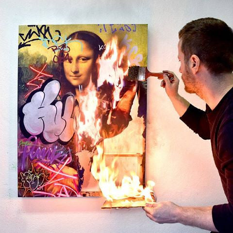 Nick Flatt painting Revolution Porno Mona Lisa Giclee print on canvas with flames