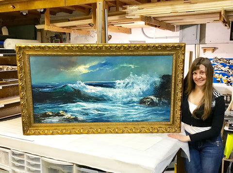 Water painting seascape gilded frame art restoration