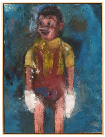 "A Pinocchio painting entitled, ""Frozen Hands, 2013"" by contemporary American artist Jim Dine."