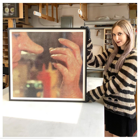 Best-custom-shadowbox-floater-frame-in-NYC-for-John-Baldessari-Lithograph-Hands-and-Feet-series