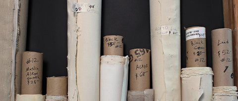 Hand-primed Pure Belgian linen and duck cotton canvas are available at Frames and Stretchers