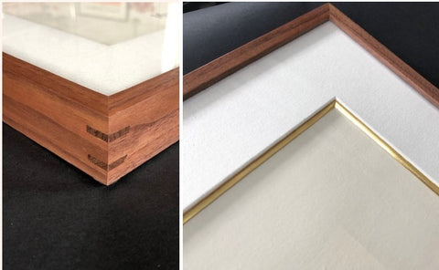 Walnut splined corners custom frame gilded gold leaf mat