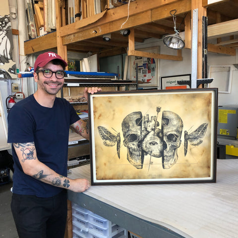 Custom Welded Steel frame in NYC for Alexis Diaz, Skull-Silkscreen, Japanese-Mounting, Print, Frames And Stretchers ©2020