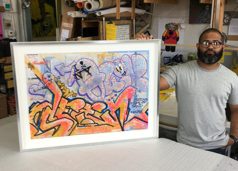 Lin Felton Quik graffiti art tagging NYC subway map custom framing