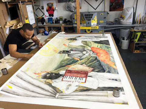 Agus Suwage Indonesian painter watercolor political art Ford Foundation hinging Japanese paper