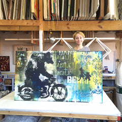 Canvas wood stretcher and Stretched artwork for The Jam Master Jay Foundation for Music