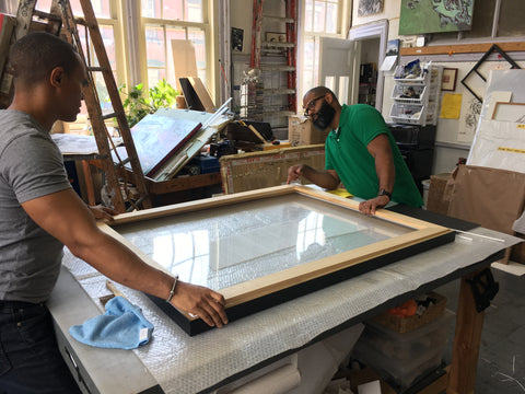 Custom framing process black shadow box moulding strainer conservation acrylic glazing
