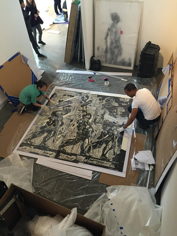 Frames and Stretchers installed Mantegna Masterpiece by William Kentridge at 1:54 Contemporary African Art Fair in NY