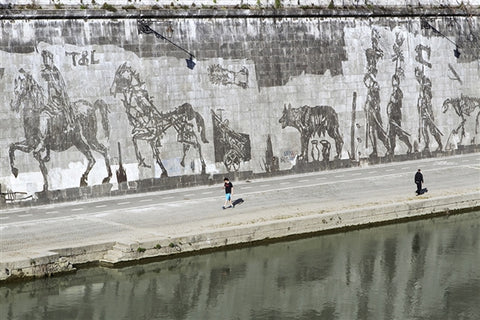 """Triumphs and Laments"" by William Kentridge— a 550m frieze on Rome's Tiber embankment."