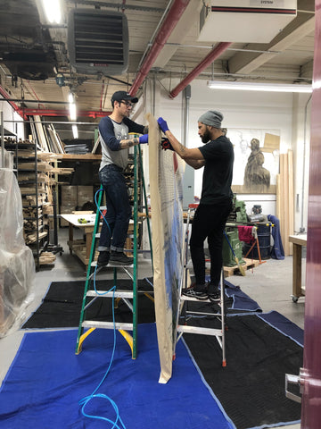 Large-Canvas-Stretching-services-New-York-city-Firelei-Baez