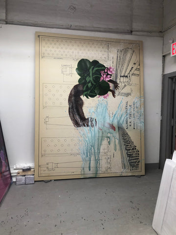 On-site-large-painting-stretching-service-New-York-Firelei-Baez
