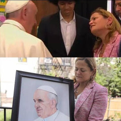 Speaker Melissa Mark-Viverito, Dante de Blasio and Pope Francis receive a painting by Oscar Lopez framed at Frames and Stretchers