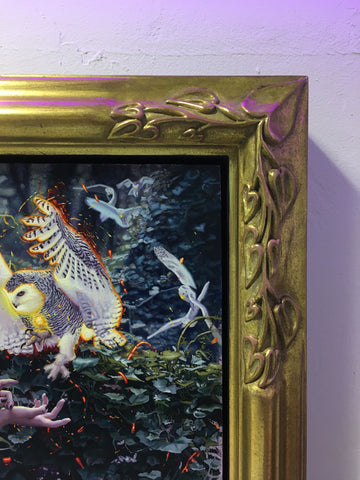 Close up of a Rodrigo Luff original art close corner, custom, hand carved, 24k gold carat gilded frame.